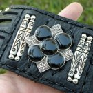 Buffalo leather cuff  bracelet Vintage Sterling Silver - Black Onyx & Marcasite