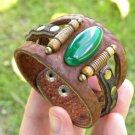 Men bracelet Buffalo Leather Natural stone Antic Bones Customize Indian Style