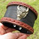 Men`s Bracelet  Genuine Buffalo Leather Buffalo Head Indian style  Ketoh