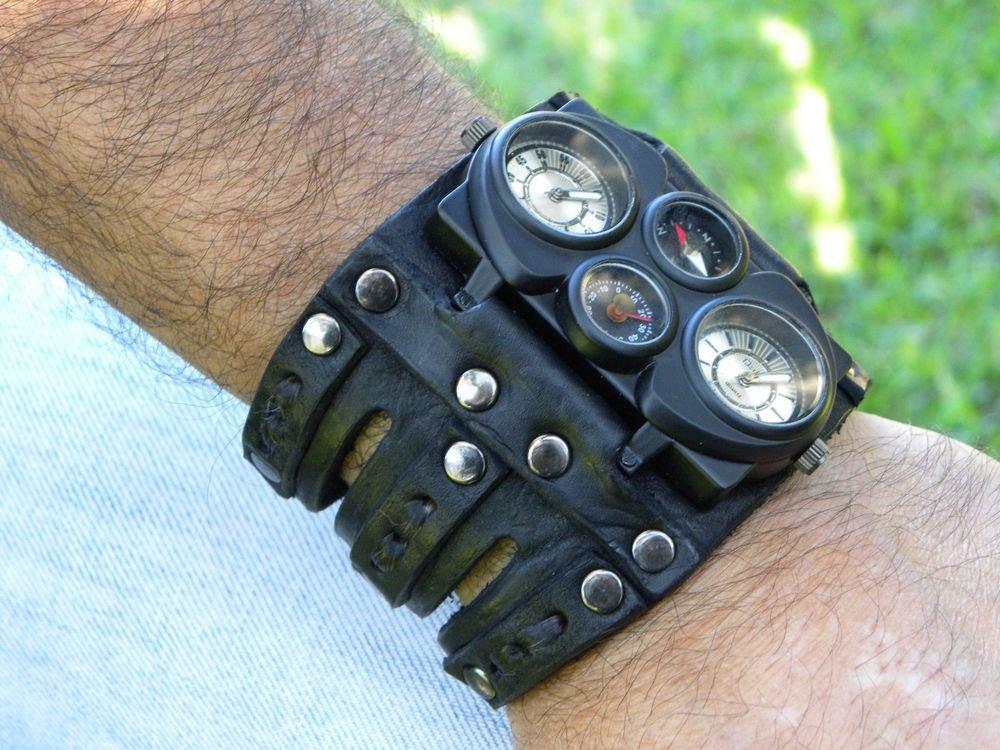 Rockstar Hunter Climber wristband  cuff bracelet Men`s Watch Steam punk dualtime