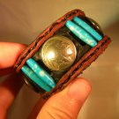 Handmade  Buffalo Leather cuff bracelet Indian Head coin Turquoise bone mixed me