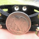 Vintage Silver Walking Liberty coin Handmade cuff Bracelet Buffalo Leather wrist