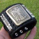 Vintage Native Navajo Handmade Thunderbird Buffalo Bison leather Bones bracelet