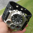 Rockstar handmade wristband  cuff bracelet Men`s Watch Steam punk compass