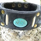 Handmade Leather Bracelet  Genuine Bison Leather cuff wristband Turquoise