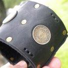 Handmade  Aztec style leather bracelet Vintage Mexican Aztec calendar coins