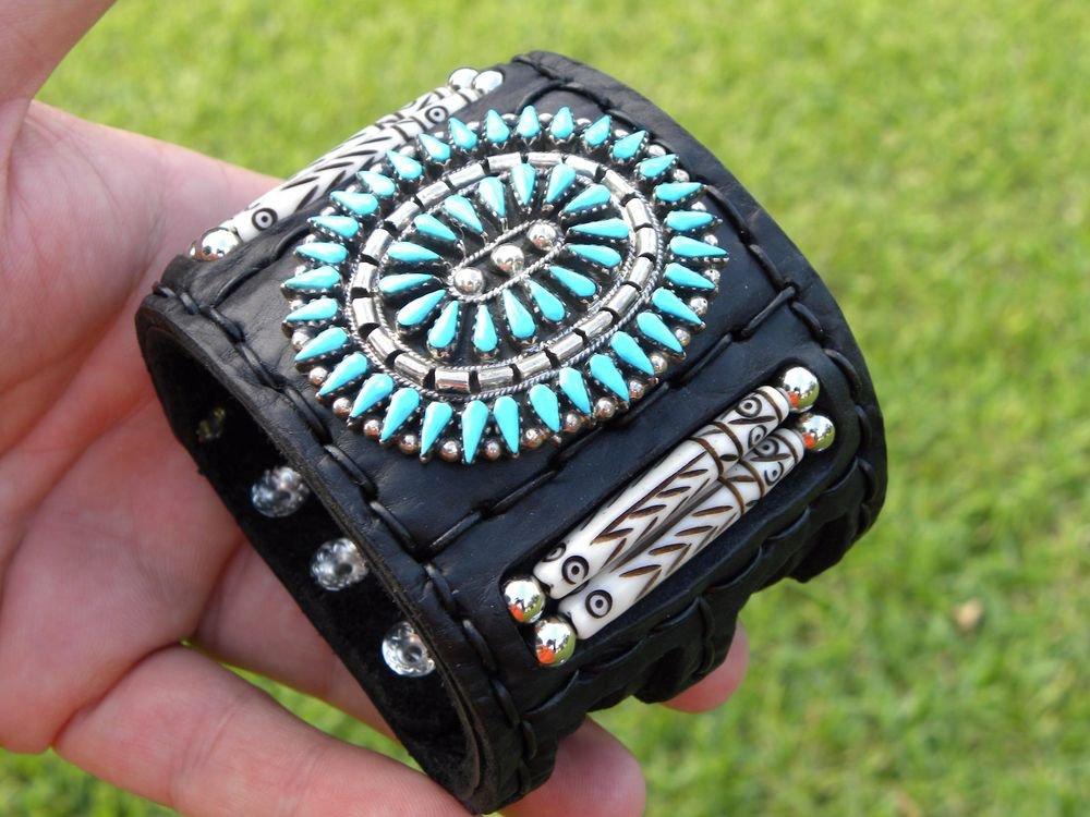 Native Indian Ketoh Bracelet  Buffalo leather silver  turquoise signed B Yazzie