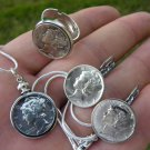Authentic Silver Mercury dime coin adjustable ring or necklace or earring or set