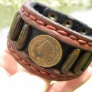Signed  Bracelet  Buffalo Leather wristband Indian Head penny Native style