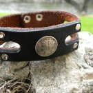 Handmade Cuff Bracelet  Buffalo Leather wristband silver real Mercury Dime coin