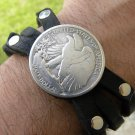 Walking Liberty 90 percent silver Handmade Black cuff Bracelet Bison Leather
