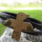 Indian Style Handmade Thunderbird Cuff Bracelet American Buffalo Bison leather,