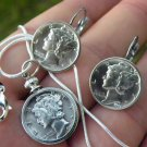 Vintage Old Silver Mercury dime coin adjustable ring or necklace or earring  set