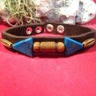 Handmade Cuff Bracelet  wristband Buffalo Leather Natural stone, Indian style