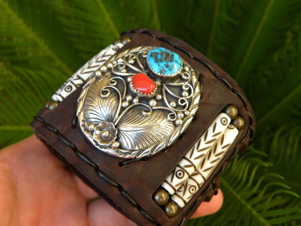 Ketoh Genuine Buffalo leather cuff Bracelet VINTAGE STERLING SILVER TURQUOISE