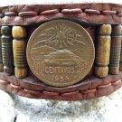 Handmade cuff vintage Bracelet wristband Buffalo Leather Aztec Style Centavos