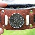 Handmade Fine Men Bracelets Genuine Buffalo Leather 1972 Nederlands coin  mg