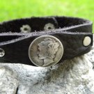 Handmade leather Cuff Bracelet Authentic Buffalo leather wristband Silver Mercur