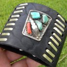 Indian Bracelet  Buffalo leather silver  turquoise signed by NAVAJO  F. CHEAMA