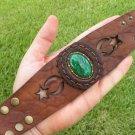 Vintage  Brooch  cuff Bracelet Genuine Buffalo Leather customize wristband cuff