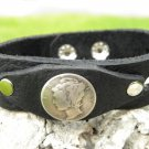 Handmade cuff  Bracelet  Buffalo Leather real Mercury dimes coin Indian Style