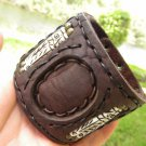 Handmade signed Bracelet  Buffalo Leather bones customize wrist size wristband