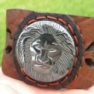 Handmade Adjustable cuff Lion Hematite Agate Bracelet Buffalo Leather Brass