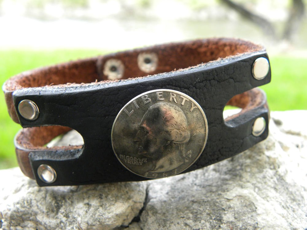 Handmade Bracelet Genuine Buffalo Leather USA  1967 Liberty 25 cents wristband
