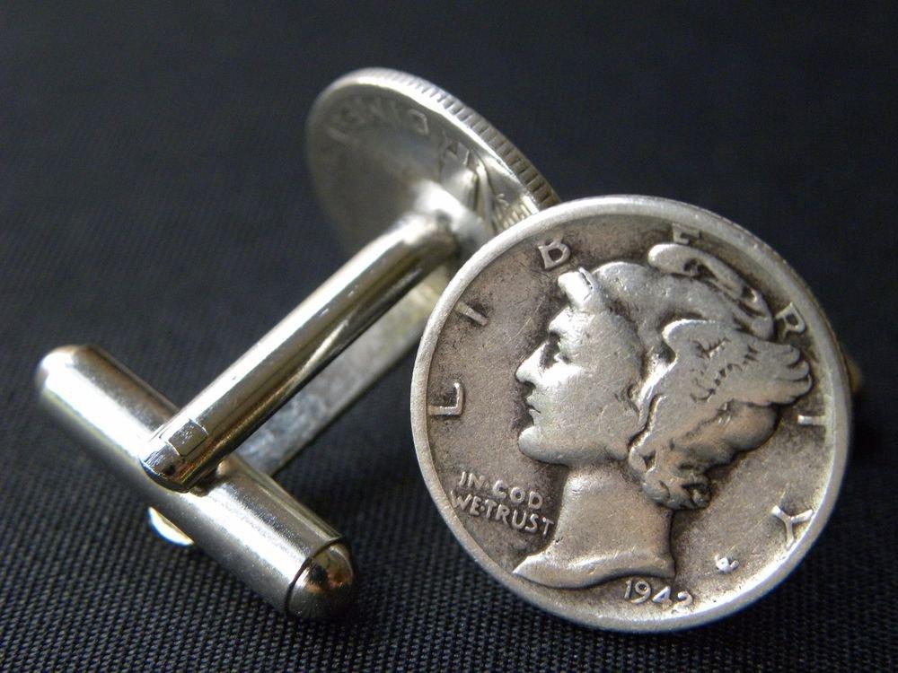 Handmade Cuff links  Silver Mercury dime coin readable dates handmade mg
