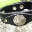 Customize wrist Cuff Bracelet Authentic Buffalo leather wristband Silver Mercur