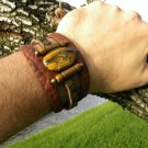 Men bracelet Buffalo Leather Tiger eye stone Bones Customize Indian Style