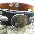 Handmade Cuff Bracelet  Buffalo Leather wristband Jewish Old Israel coin Menorah