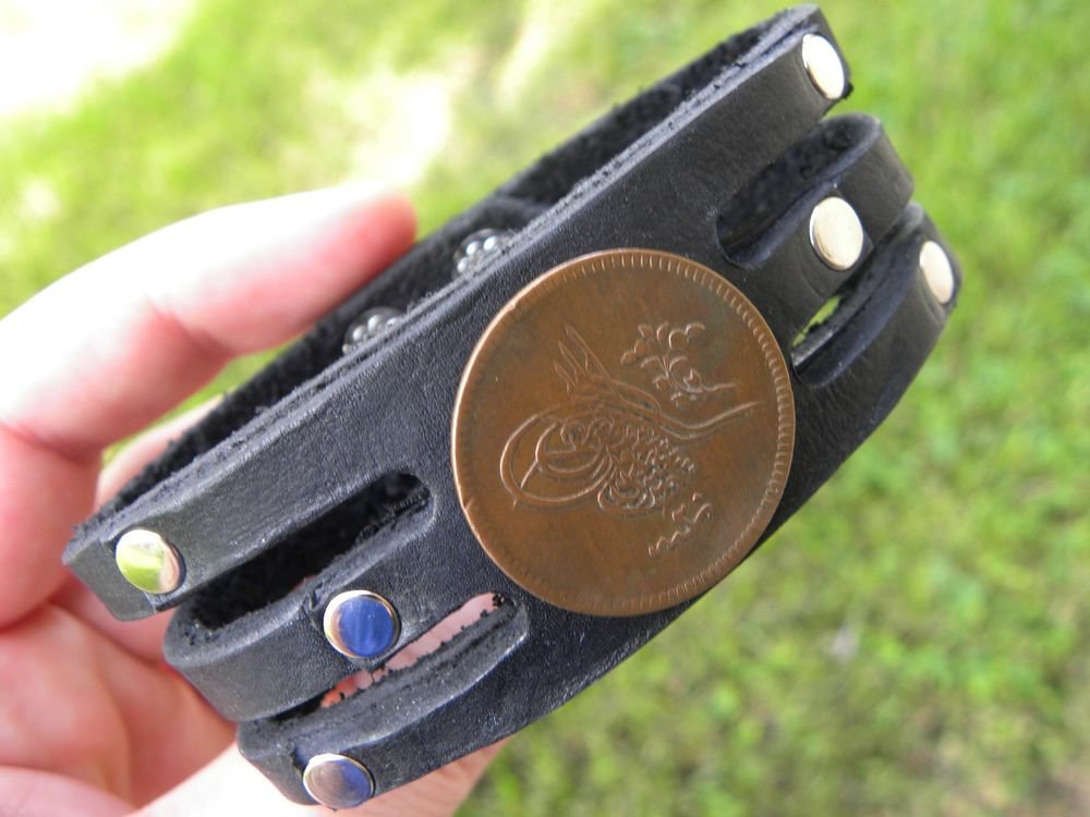 Vintage Signed Desiger Bracelet Buffalo Leather real  1839 Ottoman Empire Coin