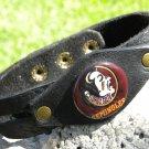 Handmade cuff  wristband Buffalo Leather Florida State Seminoles Indian logo sig