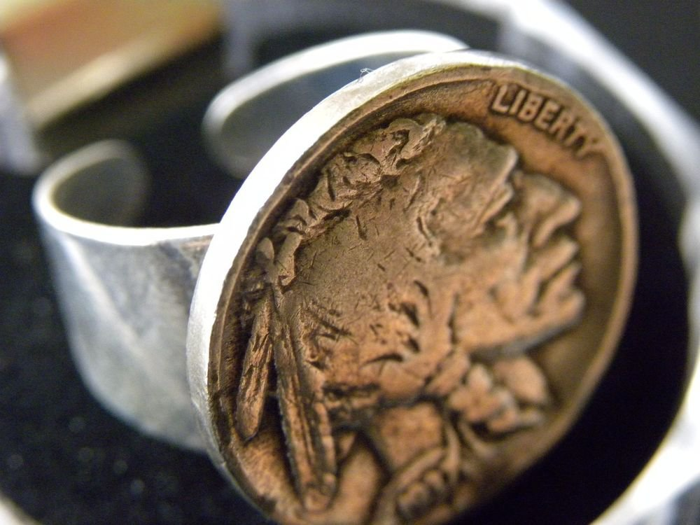 Buffalo Indian Nickel coin handmade adjustable Indian style silver plated ring