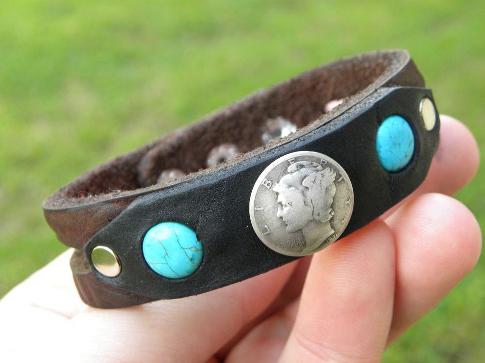 Indian Style Bracelet wristband Silver Mercury dime Buffalo leather  Turquoise