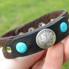 Indian Style Bracelet wristband Silver Mercury dime Buffalo leather  Turquoise