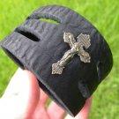 Vintage Cross religious Pendant Handmade Unique Cuff  Bracelet Buffalo Leather