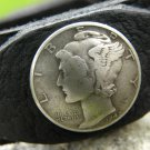 Handmade  cuff  signed Bracelet  wristband  Bison Leather Silver Mercury