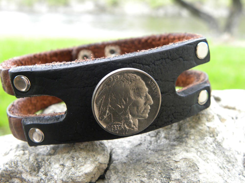 Handmade leather cuff Bracelet Genuine Buffalo Leather Real Indian Head Nickel
