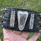 gENUINE Buffalo leather cuff  bracelet  Vintage  signed MEXICO ALPACA