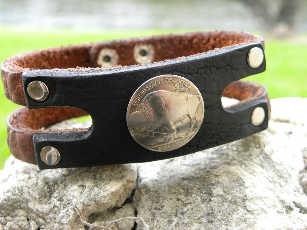 Handmade cuff  Bracelet wristband Buffalo Leather, Buffalo Indian Head coin mg