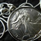 1943  Vintage  Walking Liberty Half dollar silver full face necklace pendant VF