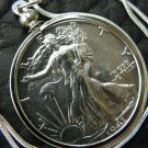 1941  Vintage VF Walking Liberty Half dollar silver FULL FACE necklace pendant