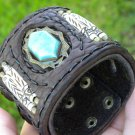 Handmade   Vintage signed  Bracelet  Buffalo  Leather cuff  bone moon glo stone
