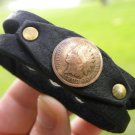 Vintage read dates  Indian Head  coin Buffalo leather cuff bracelet wristband