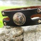 Leather Bracelet wristband  Genuine Buffalo Leather 1937 Indian Head Nickel