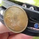 Vintage Signed Desiger Bracelet Buffalo Leather AH 1277 Ottoman Empire Coin