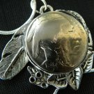 Necklace1935 Real Buffalo Indian Nickel  Handcraft Tibaten Silver Plate pendant