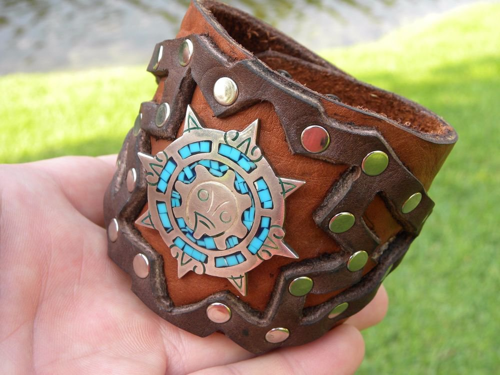 Authentic Leather cuff  Bracelet Turquoise  silver 925 sign Aztec calendar style